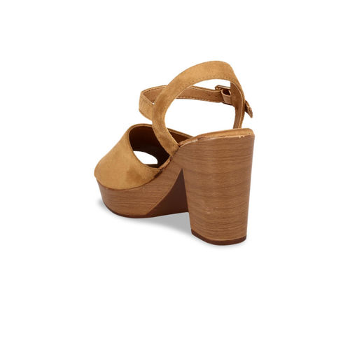 Flat n Heels Women Tan Brown Solid Suede Heels
