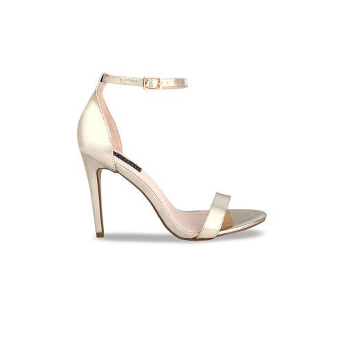Flat n Heels Women Gold-Toned Solid Sandals