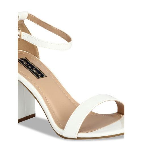 Flat n Heels Women White Solid Heels