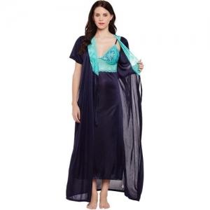 Clovia Women Nighty with Robe(Blue)