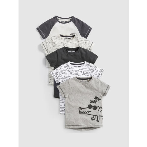 next Boys Grey Printed Round Neck Pack of 5 T-shirts