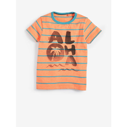 next Boys Orange Striped Printed Round Neck T-shirt