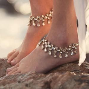 Gold Plated Kundan Anklet