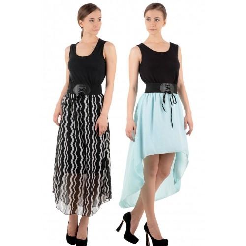 Raabta Women's Black & Light Blue Party Wear Combo Dress