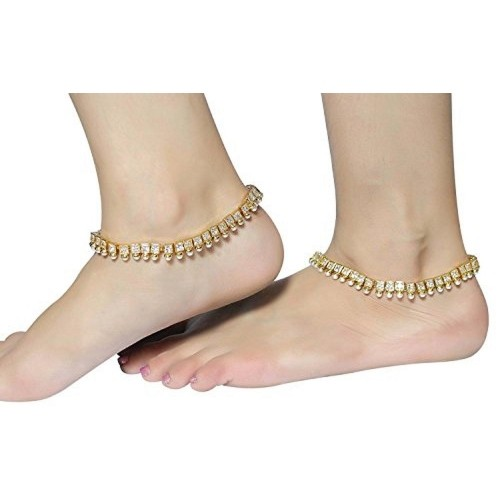 MUCH MORE American Stone Made Polki Anklet/Payal For Women