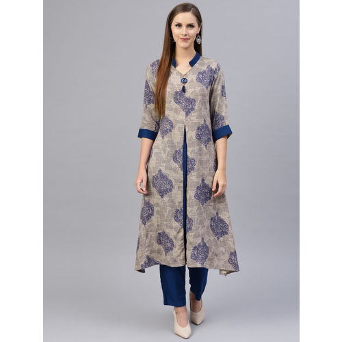 Shree Women Beige & Blue Printed A-Line Kurta