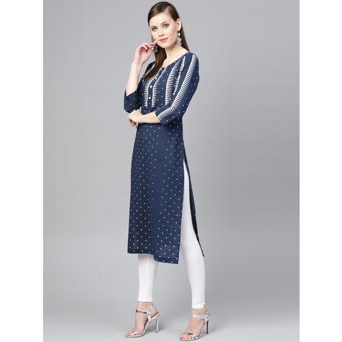 Varanga Women Navy Blue & White Printed Straight Kurta
