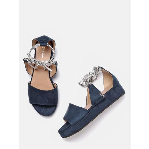 Mast & Harbour Women Navy Blue Solid Flatforms