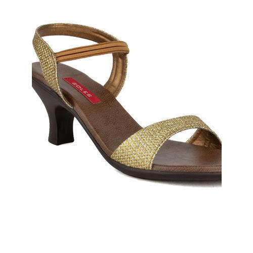 SOLES Women Gold-Toned Woven Design Heels