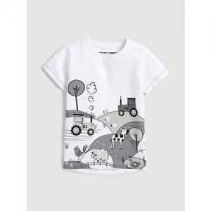 next Boys White & Grey Printed Round Neck T-shirt