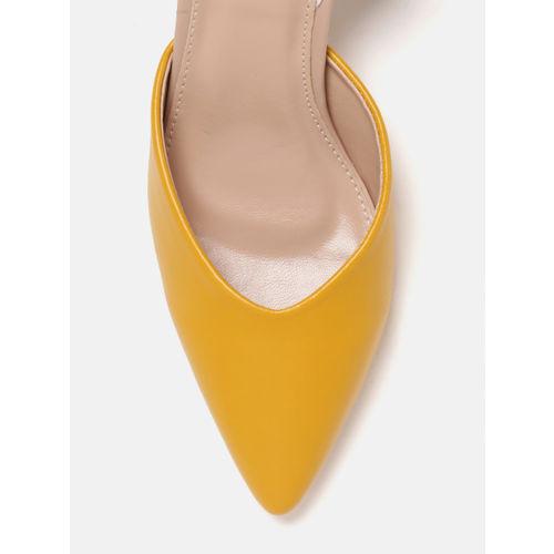 DressBerry Women Mustard Yellow Solid Pumps