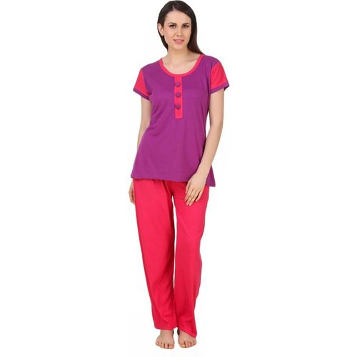 Fasense Women Solid Purple, Pink Top & Pyjama Set