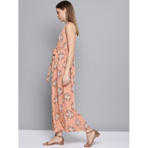 Chemistry Women Peach-Coloured Scarf Printed Maxi Dress