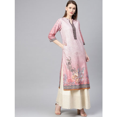 Shree Women Pink Printed Straight Kurta