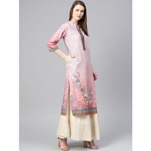 Shree Women Pink Printed Straight Kurta