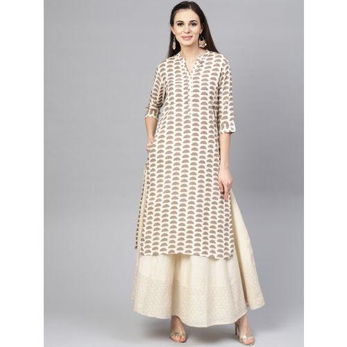 Varanga Women Beige & Brown Printed Straight Kurta