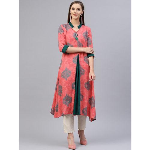 Shree Women Pink & Teal Blue Printed A-Line Kurta