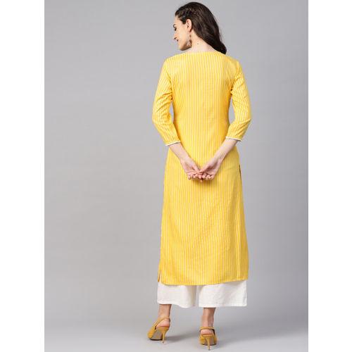 Yufta Women Yellow & White Striped Straight Kurta