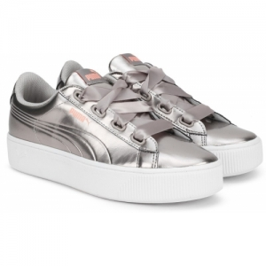 Puma Silver Leather Vikky Stacked Ribbon P Casual Shoes For Women