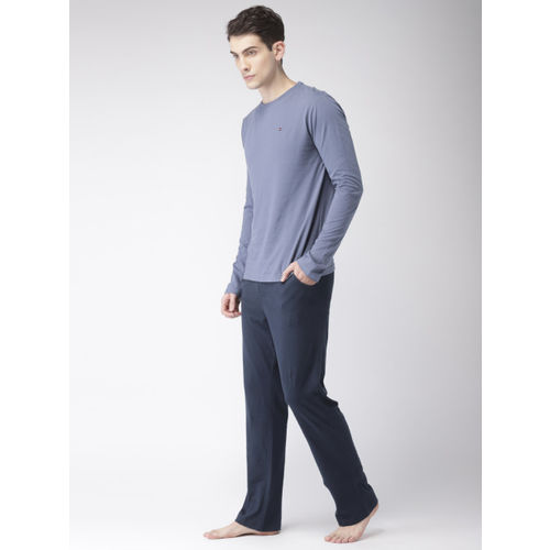 Tommy Hilfiger Grey & Navy Blue Solid Lounge Set A8ABY110