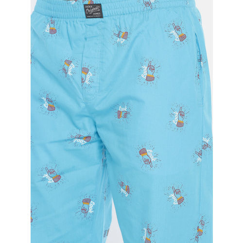 Jack & Jones Men Blue Printed Pyjamas 2026955004
