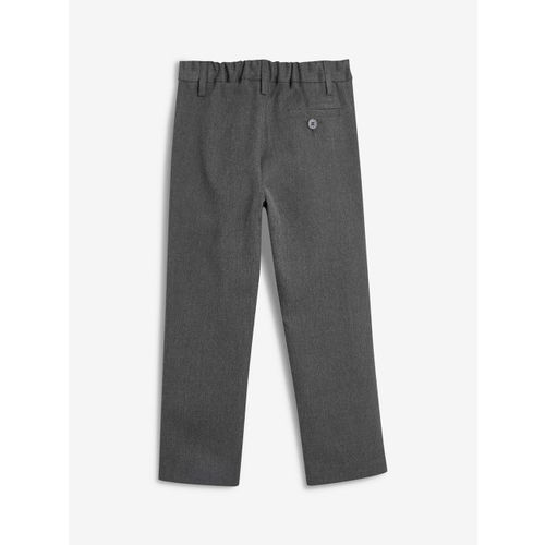 next Boys Grey Regular Fit Solid Formal Trousers