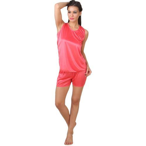 Fasense Fashion Women Solid Pink Top & Shorts Set