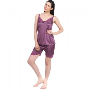 Fasense Women Solid Purple Top & Shorts Set