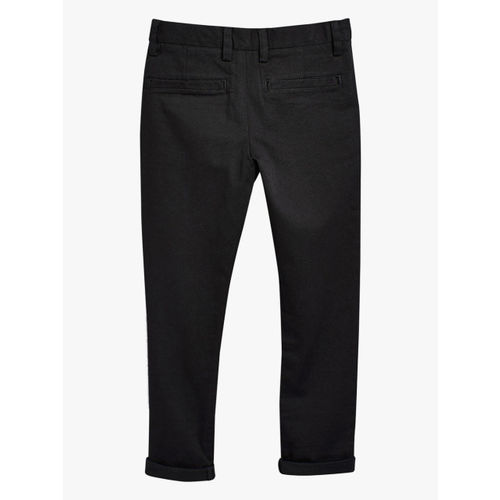 next Boys Black Solid Regular Fit Trousers