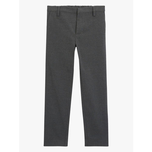 next Boys Charcoal Grey Solid Slim Fit Formal Trouser