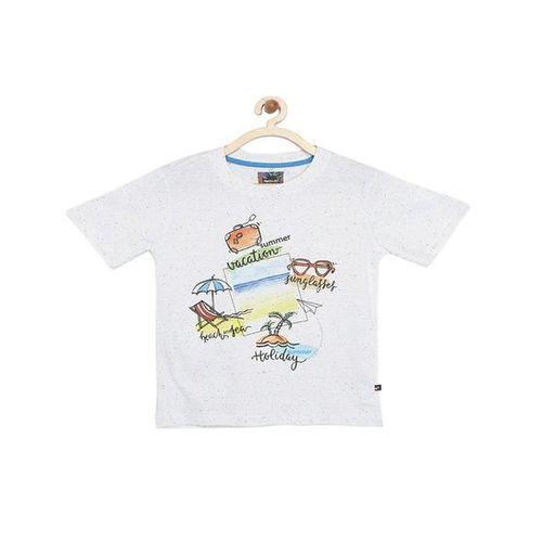 Nauti Nati Kids White Printed T-Shirt