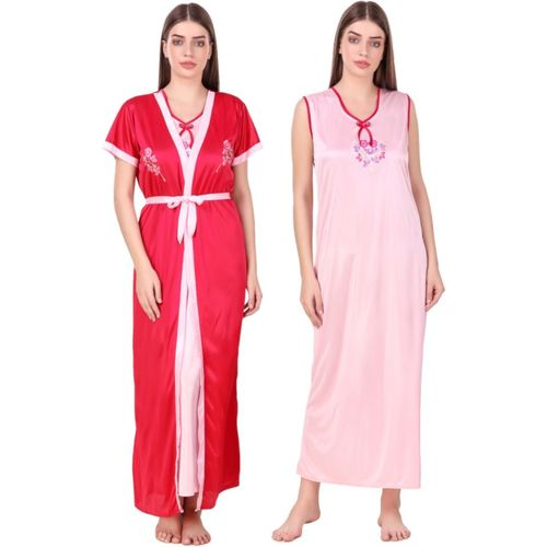 N-Gal Women Nighty with Robe(Red)