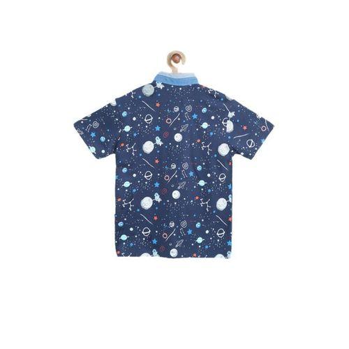 Nauti Nati Kids Navy Printed T-Shirt