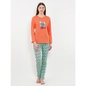 SWEET DREAMS Women Printed Orange Top & Pyjama Set