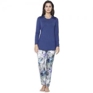 SWEET DREAMS Women Printed Blue Top & Pyjama Set