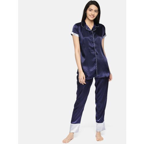 Sweet Dreams Women Navy Blue Solid Night Suit 2776A9
