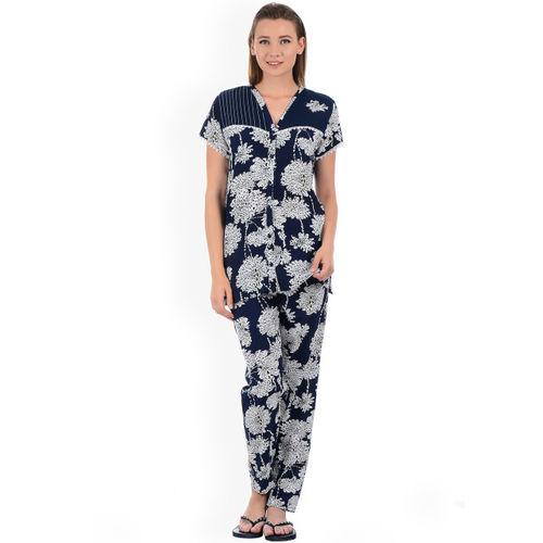 Sweet Dreams Women Navy Blue & Off-White Printed Night Suit 284718CA