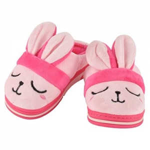 Yellow Bee Bunny Plush Pink Slippers for Girls