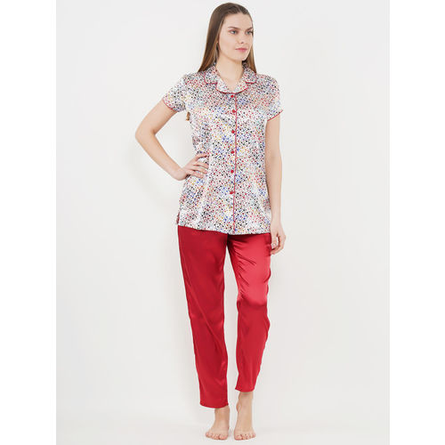Sweet Dreams Women White & Red Printed Night Suit 2795A9