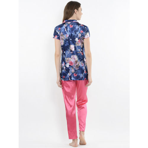 Sweet Dreams Women Navy Blue & Pink Printed Night Suit 278678