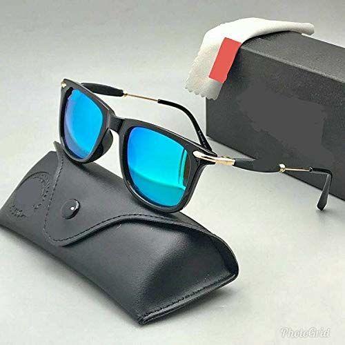 Forex Polarized UV400 Protected Wayfarer Square Unisex Sunglasses (KHMOHDG07CH, 4-inch, Blue Lens)