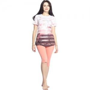 SWEET DREAMS Women Printed Pink Top & Capri Set