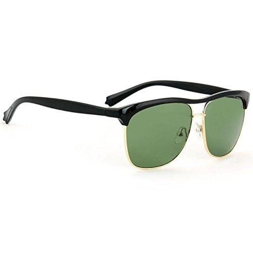Trendmi Golden Black Frame Green Lens Club Master Unisex Wayfarer Sunglasses