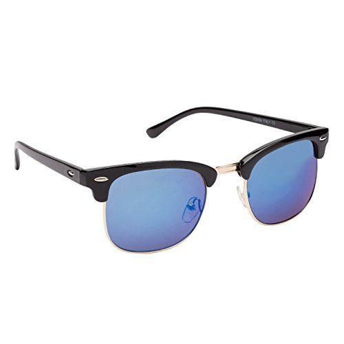 Gansta Plastic UV Protected Clubmaster Men's & Women's Sunglasses (54, Blue)