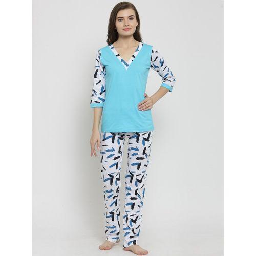 Claura Women Solid Light Blue Top & Pyjama Set