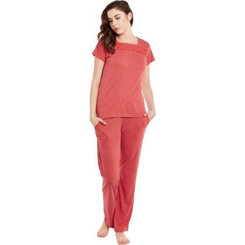 Claura Women Solid Red Top & Pyjama Set