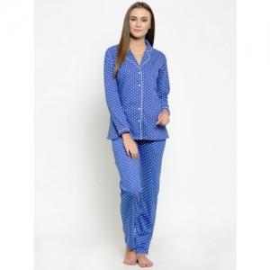 Claura Women Blue & White Printed Night suit Cot-114-blu