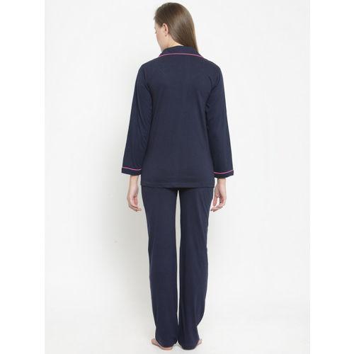 Claura Women Navy Blue Solid Night suit