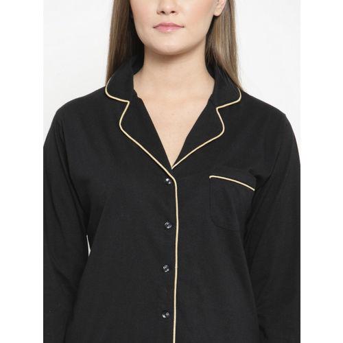 Claura Women Black Solid Night suit Cot-115-black-nightsuit