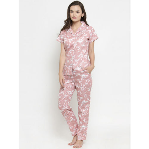 Claura Women Pink & White Printed Night Suit Cot-131